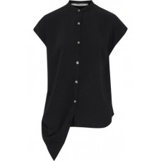 CHALAYAN Asymmetric draped satin-crepe shirt Black 100% Polyester 3633577412040370 10cIaNG7